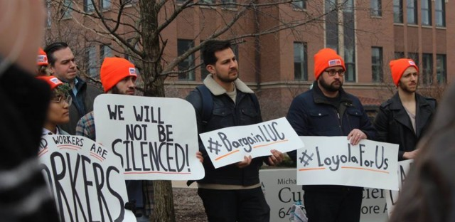 Graduate student workers at Loyola fight to get the university to recognize the union and negotiate a contract.