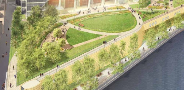 A park plan for the base of the River Point building, connects the property to the Chicago Riverwalk.