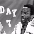 Political activist Dick Gregory talk with the press in Springfield , May 24, 1982. Gregory entered his third day of a five-day total fast with no food or water. He joined seven women who are fasting on water only in protest of Illinois' failure to pass the Equal Rights Amendment. The women entered their seventh day of fasting, vowing to keep it up until the passage of E.R.A by the Illinois legislature. (AP Photo)