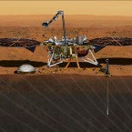 NASA has set a new launch opportunity, beginning May 5, 2018, for the InSight mission to Mars. This artist's concept depicts the InSight lander on Mars after the lander's robotic arm has deployed a seismometer and a heat probe directly onto the ground.