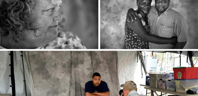 """U.S. military veterans Marcus Bennett (from top, left to right), Henry Addington, Melinda Baca and Fred E. Parks Jr. and his wife, Jessica. (Bottom) David Gilkey photographs Marcus Bennett at a pop-up studio. From the story """"What Do Homeless Vets Look Like,"""" 2014."""