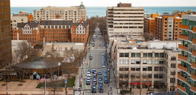 A view of downtown Evanston.