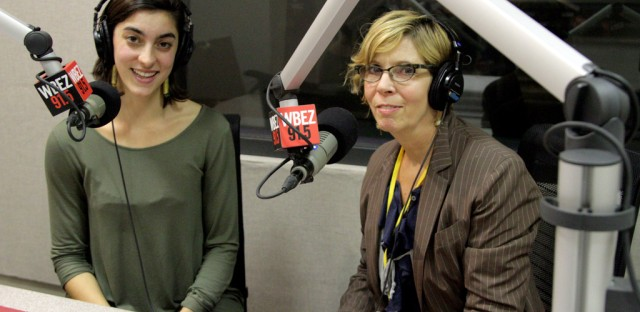 Reporter Chloe Prasinos and questioner Barbara Laing at WBEZ.