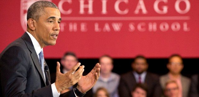 President Barack Obama speaks about his Supreme Court nominee Merrick Garland, Thursday, April 7, 2016, at the University of Chicago Law School in Chicago.