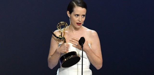 The Crown's Claire Foy accepts the outstanding lead actress in a drama series.