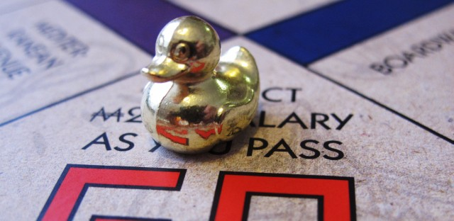 This March 15, 2017 photo shows the ducky, one of three new tokens that will be included in upcoming versions of the board game Monopoly in Atlantic City, N.J. Hasbro Inc. revealed the results of voting on Friday, March 17, 2017. Leaving the game will be the boot, wheelbarrow and thimble tokens. (AP Photo/Wayne Parry)