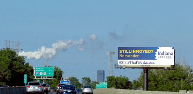 An example of a Stillinoyed campaign billboard designed to highlight Indiana's business opportunities.