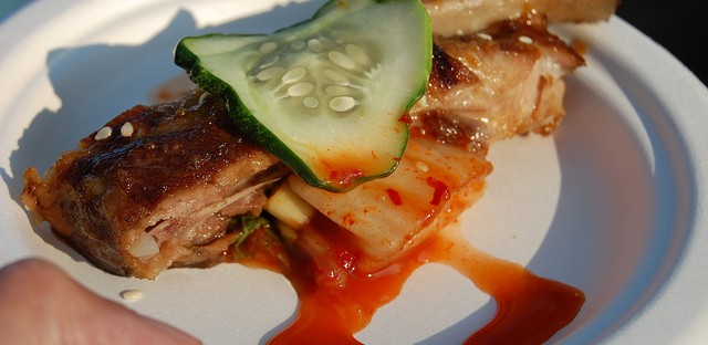 Bulgogi glazed spareribs with kimchi and pickles by Red Door chef Troy Graves in Chicago