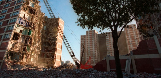 A wrecking ball tears away at one of several Cabrini-Green public housing project buildings in 1995.