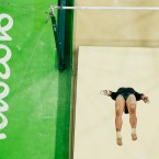Mexico's Alexa Moreno performs on the uneven bars during the artistic gymnastics women's qualification at the 2016 Summer Olympics in Rio de Janeiro, Brazil, Sunday, Aug. 7, 2016.