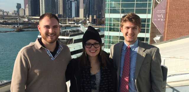 Left to right: Nick Oviatt, DePaul College Republicans and Trump supporter; Lorena Mesa, software engineer, voted for Bernie in primaries and Clinton in general; and Matthew Foldi, president of the University of Chicago College Republicans, Marco Rubio supporter.                         Not pictured: Jessica Disu, writer poet and activist. Supported Bernie in primary and Hillary in general.