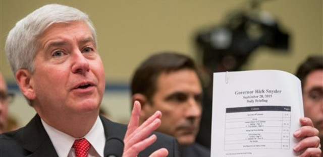 Michigan Gov. Rick Snyder testifies before a House Oversight and Government Reform Committee hearing in Washington, Thursday, March 17, 2016, to look into the circumstances surrounding high levels of lead found in many residents' tap water in Flint, Michigan.