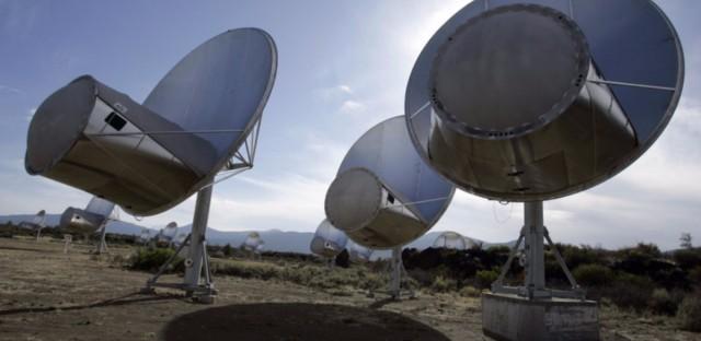 Radio telescopes of the Allen Telescope Array are seen in Hat Creek, Calif.