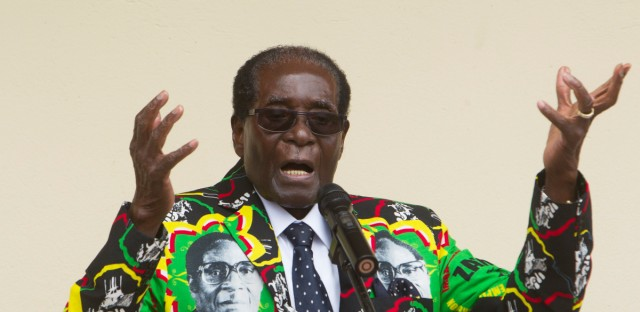 Zimbabwean President Robert Mugabe addresses people at an event before the closure of his party's 16th Annual Peoples Conference in Masvingo, about 300 kilometres south of the capital Harare, Saturday, December, 17, 2016.