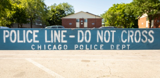 A barricade is shown outside the Chicago Police Department Training and Education Academy on Tuesday, June 25, 2019.