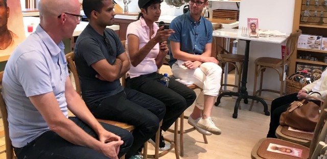 "Writer John Birdsall (from left), photographer Nik Sharma, restaurateur and chef Preeti Mistry talk about the concept of the ""queer kitchen"" with Lukas Volger, the editor of Jarry, a gay men's food magazine."