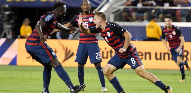 Jordan Morris of Team USA, right, celebrates scoring a goal against Jamaica during the final football game of the 2017 CONCACAF Gold Cup on Wednesday at the Levi's Stadium in Santa Clara, Calif.