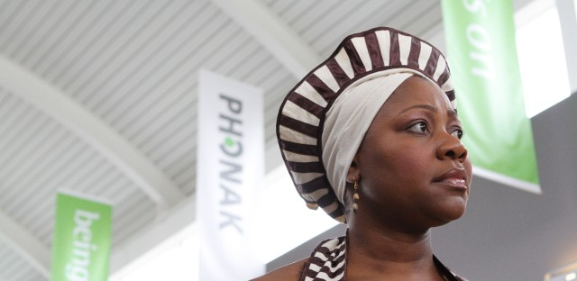 Princess Kasune Zulu, speaker, author, global ambassador and founder of the Fountain of Life, arrives at Phonak US headquarters in Warrenville, Ill. to receive a donation of 6,000 hearing aid batteries to support her mission efforts. She will take the supplies to Zambia, Africa where she will work with HearCare Connection, Inc. of Ft. Wayne, Ind. to provide hearing health care to people in need in Princess's home country of Zambia.
