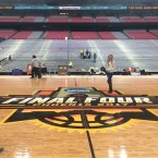 The floor for next weekend's NCAA men's college basketball tournament Final Four is laid in place on March 24, 2017, at University of Phoenix Stadium in Glendale, Ariz.