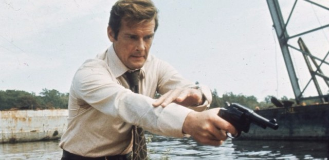 "Roger Moore — seen here filming Live and Let Die, his debut as James Bond — described his most famous role as ""a lover and a giggler."""