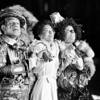 "In this Oct. 4, 1977 file photo, Diana Ross, center, as Dorothy, Michael Jackson, right, as Scarecrow, and Nipsey Russell as Tinman perform during filming of the musical ""The Wiz"" in New York. Ted Ross, portraying the Lion, is partly hidden behind Russell."