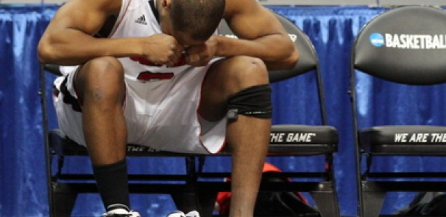 Preston Knowles #2 of the Louisville Cardinals reacts after coming out of the game against Morehead State.