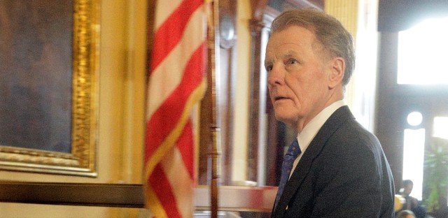 Illinois Speaker of the House Michael Madigan, D-Chicago, walks out of Illinois Gov. Bruce Rauner's office during veto session at the Illinois State Capitol Wednesday, Nov. 30, 2016, in Springfield, Ill.