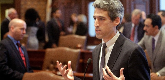 In this Nov. 15, 2016 file photo, Illinois Sen. Daniel Biss, D-Skokie, speaks to lawmakers while on the Senate floor at the Illinois State Capitol in Springfield, Ill. In a live video event Monday, March 20, 2017, Biss said he's running for Illinois governor in 2018. He becomes the latest Democrat to say he's seeking the nomination to challenge Republican Gov. Bruce Rauner.