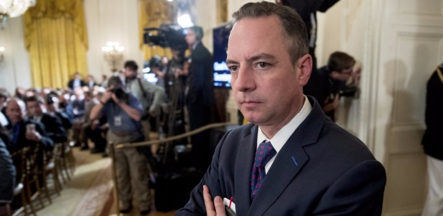 President Trump's Chief of Staff Reince Priebus attends an Air Traffic Control Reform Initiative event at the White House on June 5.