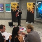 University student Miles Sutton plays jazz for his audition to busk on the London subway.