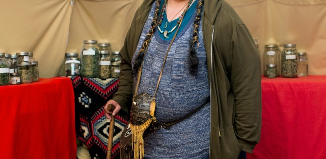 "Daphne Singingtree, 65, is a traditional practitioner and a medicine maker from Eugene, Ore., though her father's side of her family is from Standing Rock. ""I inherited land here so this is my fight. It's personal."""