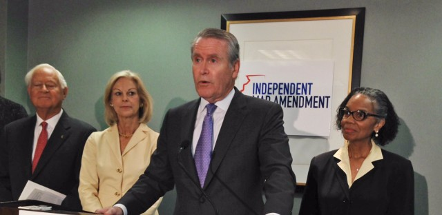 In this April 28, 2015 file photo, former Tribune Company CEO Dennis FitzSimons who is part of the group, Independent Map Amendment speaks at a news conference in Chicago. The group has proposed a voter referendum aimed at changing the way Illinois draws its political boundaries, which a judge ruled Wednesday July 20, 2016 is unconstitutional for the November ballot.