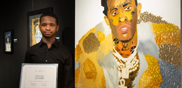 Youth artist Arthur Roby, of Kenwood Academy High School, was the first place winner in Juried Art's youth category for 2019 for his portrait of rapper Young Thug. This year, students like Roby can submit their works of art earlier for consideration.