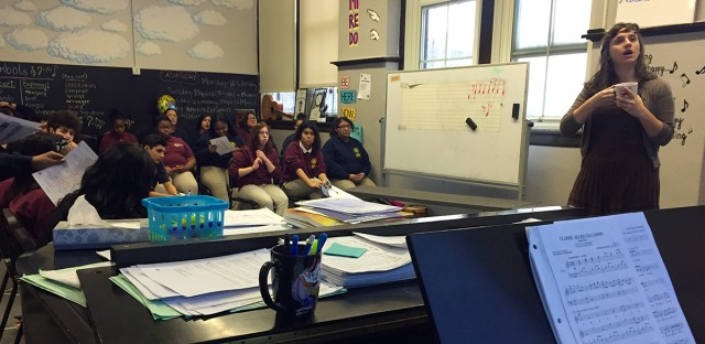 Students at UIC College Prep in Chicago studying music in December 2016.
