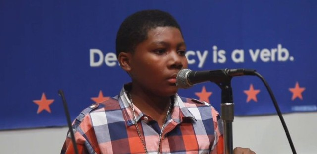 Donte Massey delivers a speech during last year's Project Soapbox competition.