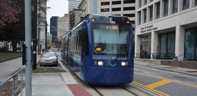 A streetcar approaches Edgewood Avenue in downtown Atlanta. Atlanta's streetcar system opened in 2014. Ridership has been disappointing, and the system is seen as too slow to be useful.