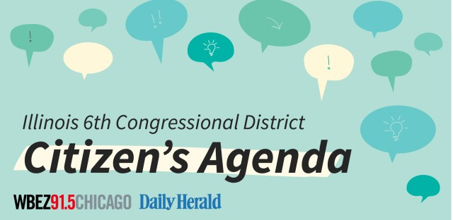 An illustration of multiple speech bubbles and the words Illinois 6th Congressional District Citizen's Agenda