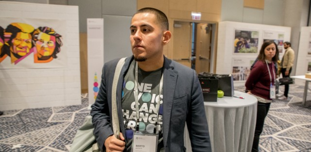 Resurrection Project organizer Berto Aguayo arrives at the second day of the Obama Foundation Summit on Nov. 1, 2017 in Chicago.