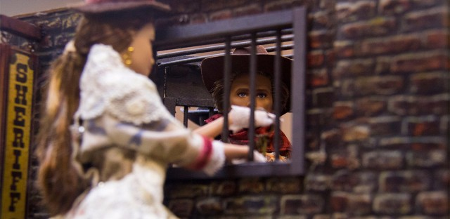 "The Kenvention features a crafting competition for dioramas like this jail scene. There were three theme categories: ""Wild, Wild West,"" ""Steampunk"" and ""Old West."" Attendees vote for their favorites on paper ballots."