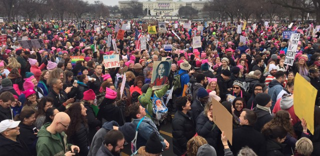 Demonstrators protest on the National Mall for the Women's March on Washington.