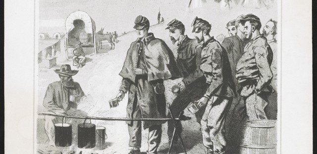 A print shows Army of the Potomac soldiers waiting for coffee at a campfire in an encampment during the Civil War.