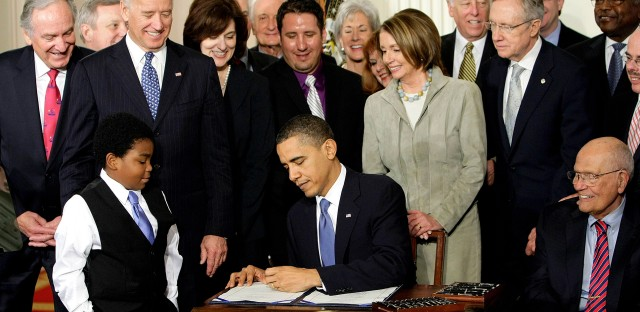 President Obama signs the Affordable Care Act on March 23, 2010.