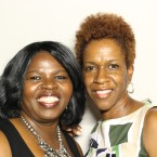Lisa Daniels at the StoryCorps booth in the Chicago Cultural Center with her friend Sherri Alllen-Reaves.