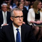 Acting FBI Director Andrew McCabe prepares to testify during the Senate Intelligence Committee hearing on worldwide threats on Thursday.