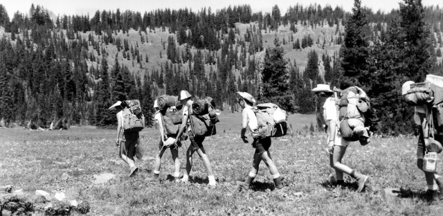 Girl Scouts at Todd Lake, Deschutes NF, OR 1960
