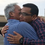 Emilio hugs his son Oscar, 25, after being released by ICE. He and his son fled Mexico together in 2008. Emilio claims the military threatened him for writing articles in a small-town paper about soldiers robbing a hotel.