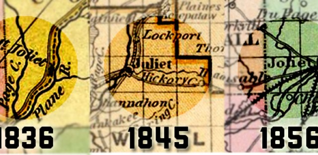 Historical maps of the Will County area show the changing name of modern-day Joliet over time.
