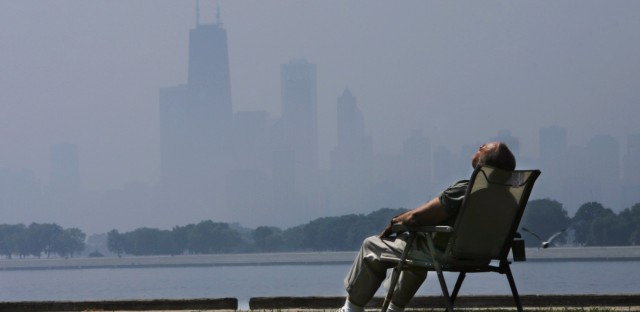 Retired marketing executive Ron Jacobs sits in a chair on Chicago's lakefront on June 29, 2005.