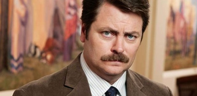 """Nick Offerman as Ron Swanson on NBC's """"Parks and Recreation."""""""
