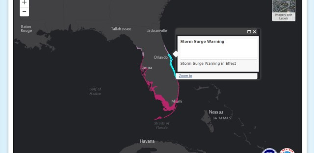A National Weather Service graphic shows the areas of Florida that are under a storm surge watch or warning Saturday morning.